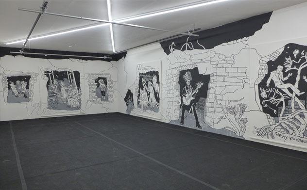 Wandbild von Victoria Lomasko für das Festival für zeitgenössische Positionen russischer Kunst Karussel im Europäischen Zentrum der Künste Hellerau in Dresden. Foto Peter R. Fiebig