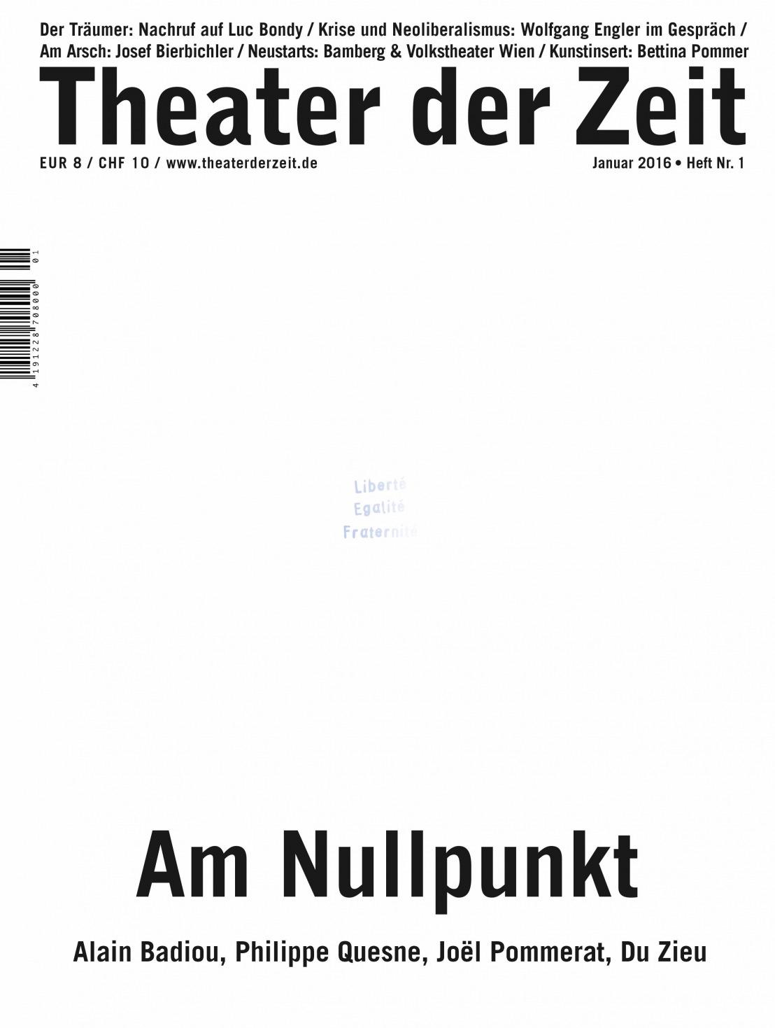 Theater der Zeit 1/2016