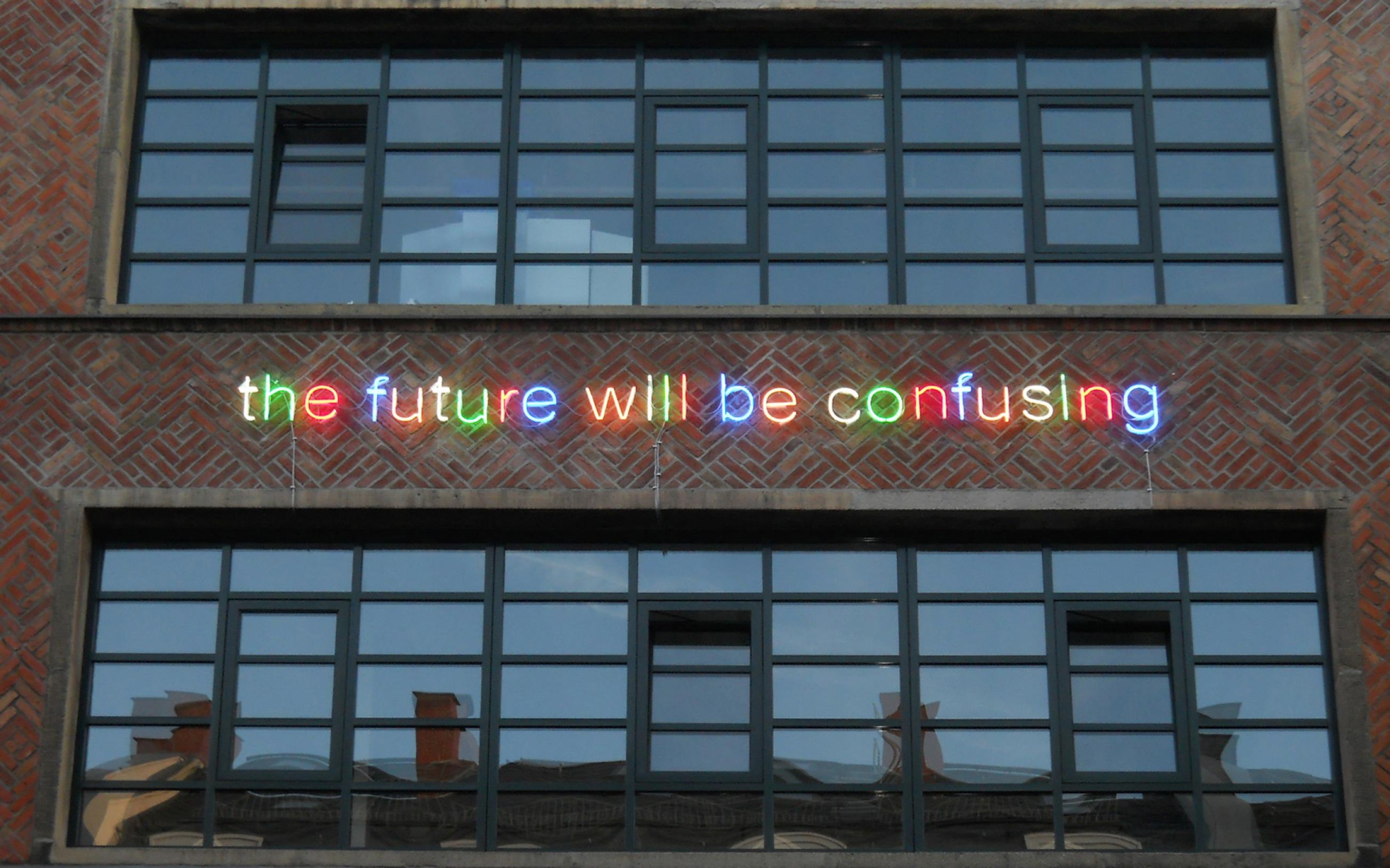 Neon-Installation von Tim Etchells, Mousonturm, Frankfurt am Main