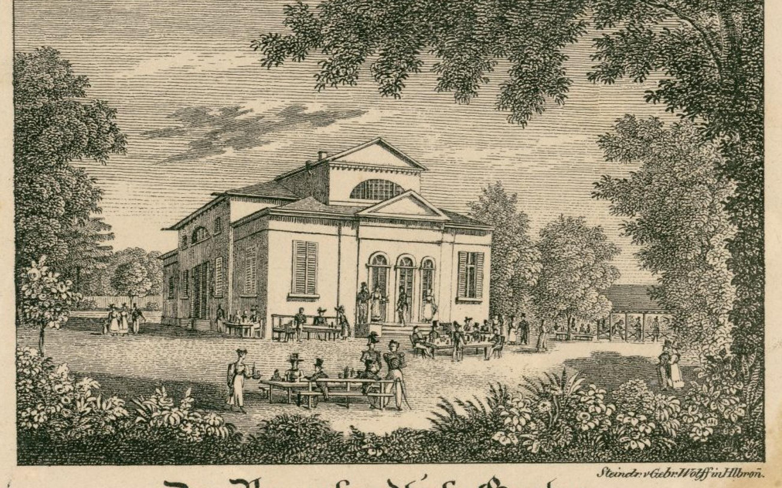 Ansicht Der Braunhardt'sche Garten (Braunhardtscher Garten in Heilbronn mit Aktientheater). Aus der Bilderserie Eri