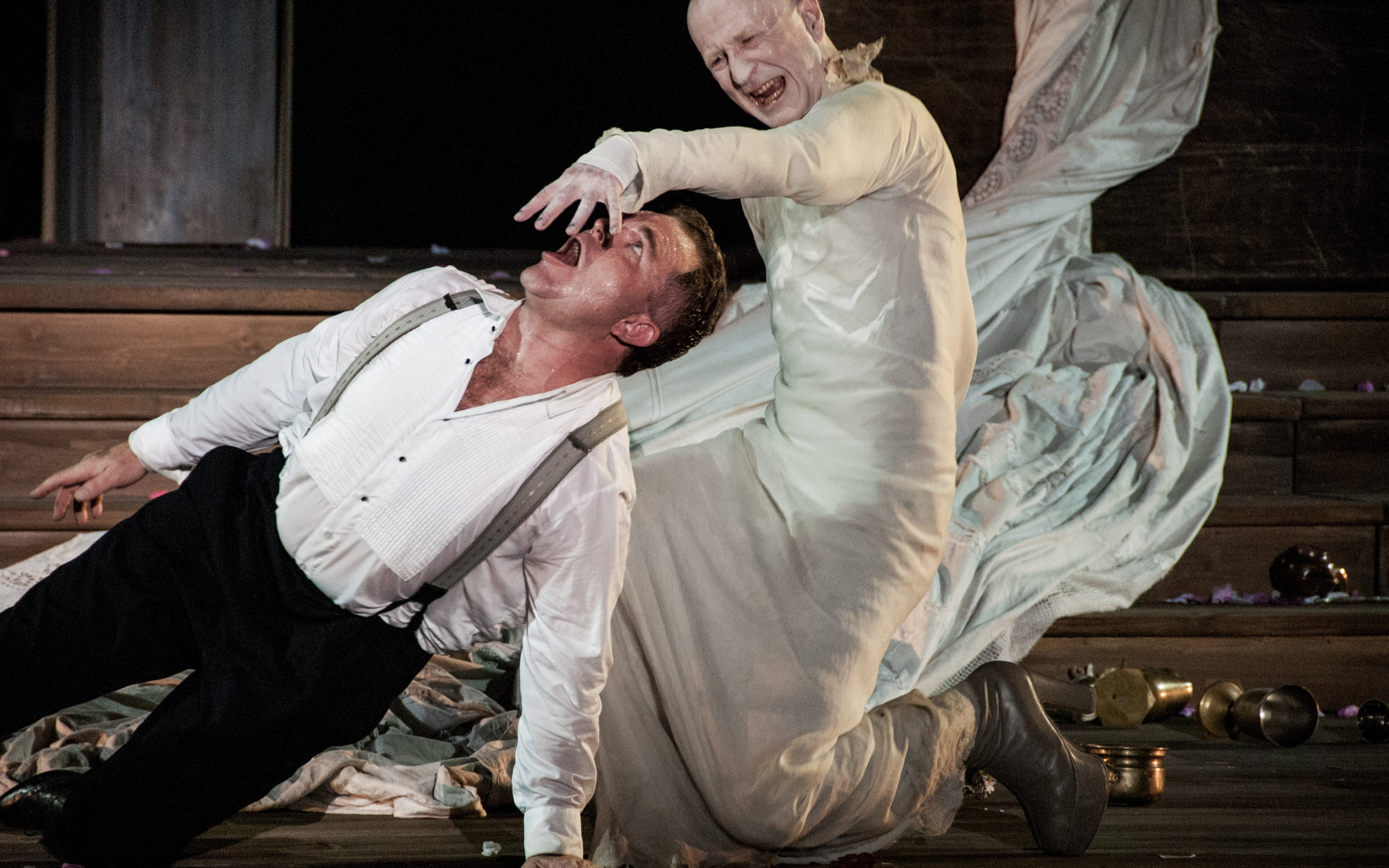 Jedermann and Death (Cornelius Obonya and Peter Lehmeier), Salzburg Festival 2014